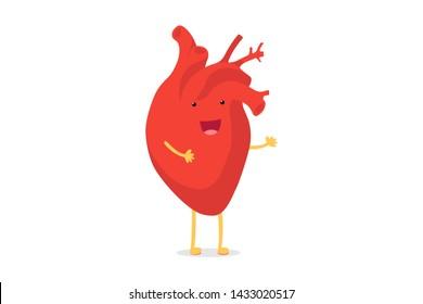 Cute cartoon smiling healthy heart character happy emoji emotion. Funny circulatory organ cardiology. Vector illustration