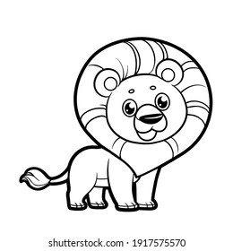 Cute cartoon smiling lion outlined for coloring on a white background