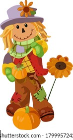 Cute cartoon smiling Scarecrow with a sunflower.Vector illustrations for greeting cards, posters, design