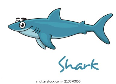 Cute cartoon smiling shark isolated on white. Suitable for wildlife, mascot design