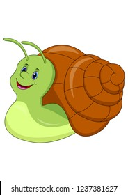 Cute cartoon snail isolated on white background