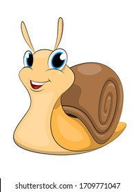 Cute cartoon snail isolated on white background.