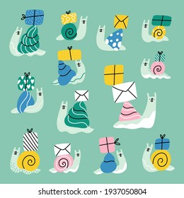 Cute cartoon snails with mail envelopes and present boxes, vector illustrations collection