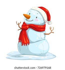 Cute cartoon snowman with red scarf and Santa hat. Vector winter illustration.