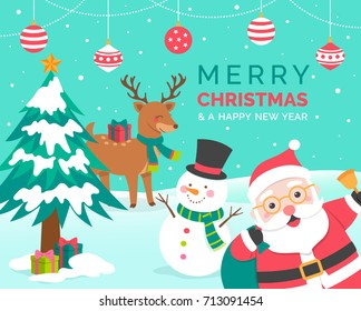 Cute cartoon snowman and reindeer illustration with copy space for christmas card
