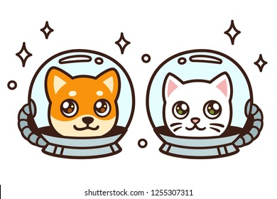 Cute cartoon space cat and dog drawing. Kawaii anime style puppy and kitty in astronaut helmets, isolated vector illustration.