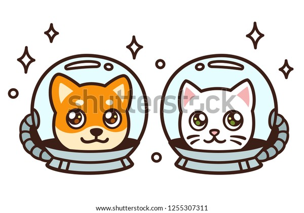 Cute Cartoon Space Cat Dog Drawing Stock Vector Royalty Free 1255307311
