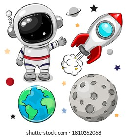Cute Cartoon space set of astronaut, rocket and planets