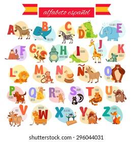 Cute cartoon spanish illustrated alphabet with animals. Alfabeto espanol. Vector illustration