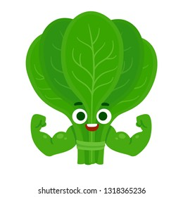 Cute cartoon spinach character with muscular arms. Funny healthy food mascot. Isolated vector illustration.
