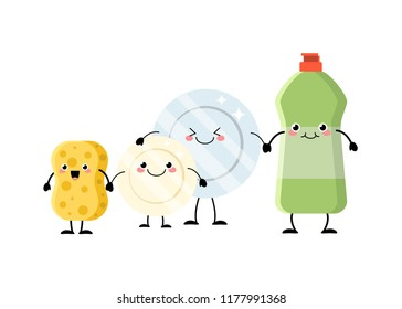 Cute cartoon sponge, plates and detergent characters vector illustration isolated on white background.