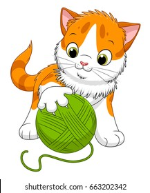 Cute cartoon spotted kitten playing with a ball of yarn. Cartoon kittens series.