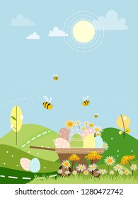 Cute cartoon of Spring field with flowers, family bee flying  and Easter eggs on wheelbarrow, Cute card of countryside with farm field and honey Bee collecting pollen on flowers in sunny day, Easter