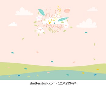 Cute cartoon Spring landscape with copy space, Vector Hello Spring on green field with leaves falling in pastel colour, Spring or Summer time banner, Card background