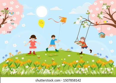Cute cartoon Spring landscape with little boy playing swing under the tree, other kids flying kite and balloon. Vector spring scene with family, children and birds standing on cherry blossom branches.