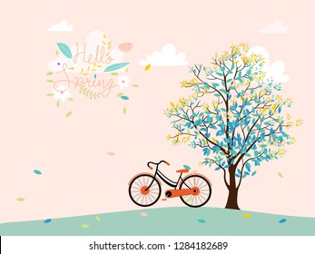 Cute cartoon Spring landscape with tree and vintage bike with copy spcae, Vector spring tree with bicycle in colour pastel,  Spring or Summer time banner, card background