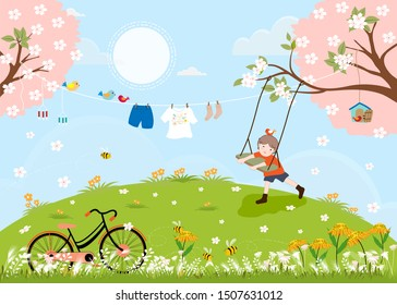 Cute cartoon Spring landscape with vintage bike and little boy playing swing under the tree, Vector spring tree with kids clothes hanging and family birds on spring trees, Spring or Summer background