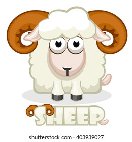 cute cartoon square White Sheep. Vector illustration.