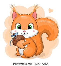 Cute cartoon squirrel and acorn. Vector illustration of an animal.