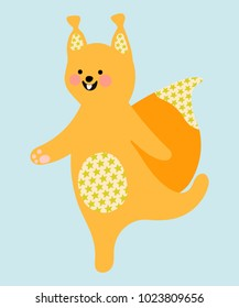 Cute cartoon squirrel. Flat style. Vector isolated illustration