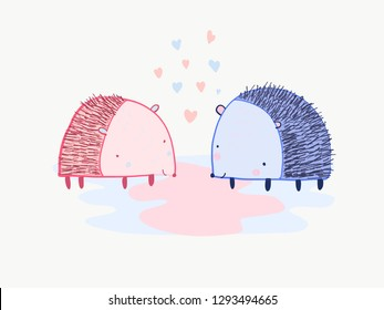 Cute cartoon St. Valentines greeting card with pink and blue hedgehog and hearts. Lovely childish hand drawn vector print with funny hedgehogs standing together