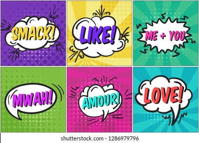 Cute cartoon St. Valentines retro comic speech bubbles set with colorful SMACK, LIKE, LOVE text. Colorful balloons with halftone shadow in pop art style for lovely advertisement, comics book