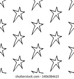 Cute cartoon star pattern with hand drawn stars. Sweet vector black and white star pattern. Seamless monochrome doodle star pattern for textile, wallpapers, wrapping paper, cards and web.