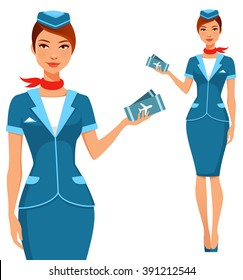 cute cartoon stewardess holding airplane tickets