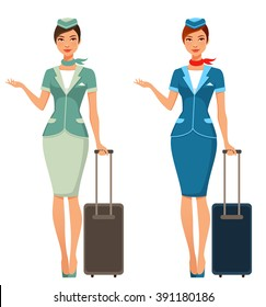cute cartoon stewardess with suitcase