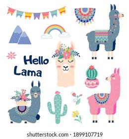 Cute cartoon sticker lama set with cactus rainbow mountains vector design on white