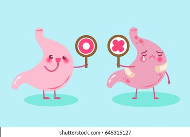 cute cartoon stomach hold circle and cross  board on green background