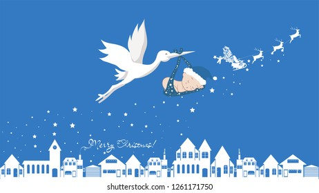Cute cartoon stork and baby. Vector illustration of a flying bird carrying a newborn kid isolated with santa, merry christmas and happy new year