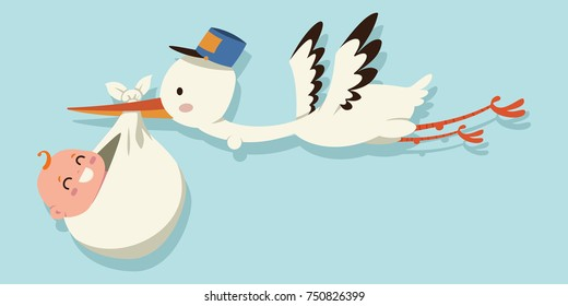 Cute cartoon stork and baby. Vector illustration of a flying bird carrying a newborn kid isolated on a blue background.