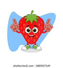 Cute Cartoon Strawberry Fruit with Foam Finger, Good Design For Fruit Character Theme