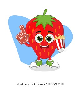 Cute Cartoon Strawberry Fruit with Foam Finger and Popcorn, Good Design For Fruit Character Theme