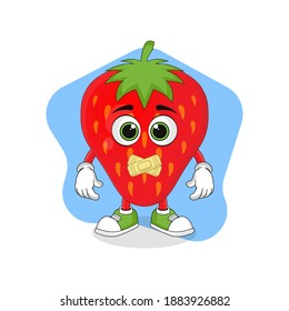 Cute Cartoon Strawberry Fruit Making a Quiet Finger Gesture, Good Design For Fruit Character Theme