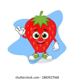 Cute Cartoon Strawberry Fruit with Okay Hand, Good Design For Fruit Character Theme