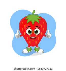 Cute Cartoon Strawberry Fruit Thumbs up Finger, Good Design For Fruit Character Theme