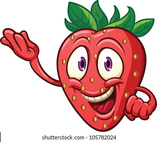 Cute cartoon strawberry. Vector illustration with simple gradients. All in a single layer.