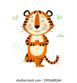 Cute cartoon striped red tiger. Tiger in yoga pose. Printing for children's T-shirts, greeting cards, posters. Hand-drawn vector stock illustration isolated on a white