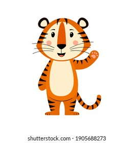 Cute cartoon striped red tiger. Tiger smiles and waves. Printing for children's T-shirts, greeting cards, posters. Hand-drawn vector stock illustration isolated on a white