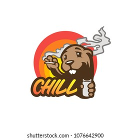 cute cartoon style beaver with beer vector illustration