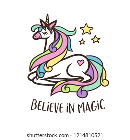 Cute cartoon style doodle unicorn with quote. Believe in magic. Vector illustration.