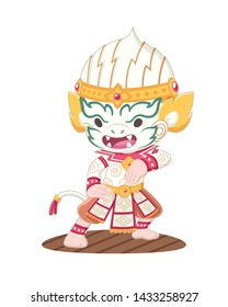Cute cartoon style Khon Thai Hanuman performing vector illustration