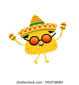Cute cartoon style nachos, tortilla chip character wearing sombrero and dancing with maracas. Mexican festival food concept.