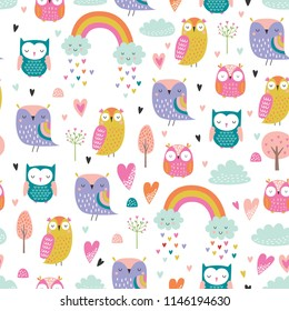 Cute cartoon style owls vector pattern