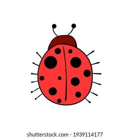 Cute cartoon style red lady bug. Vector illustration.