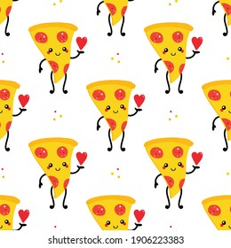 Cute cartoon style smiling pizza character holding red heart in hand vector seamless pattern background.