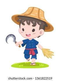 Cute cartoon style Thai farmer with sickle and ear of paddy walking relaxly illustration