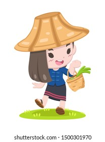 Cute cartoon style Thai farmer woman with basket of harvested vegetables walking relaxedly illustration
